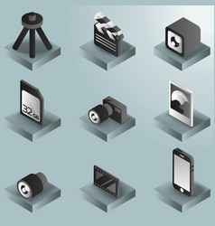 photo color gradient isometric icons vector image