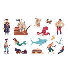 pirates set cartoon crew filibusters vector image