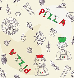 Pizza seamless pattern - hand drawn vector