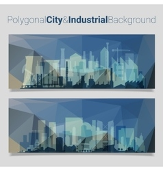 Polygonal header slider webdesign kit with city vector