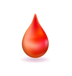realistic red blood drop 3d icon droplet falls vector image