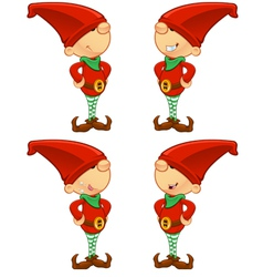 Red elf hands on hips vector
