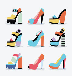 Retro colorful and trendy women platform shoes set vector