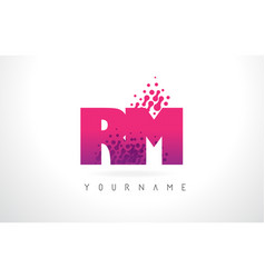Rm r m letter logo with pink purple color and vector