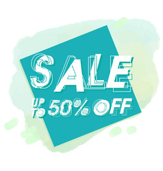 sale up to 50 off blue square background i vector image