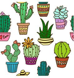 seamless cactus pattern plant fabric print vector image