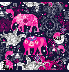 seamless lovely pattern elephants on a floral vector image