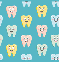 Seamless pattern with cute colorful teeth vector