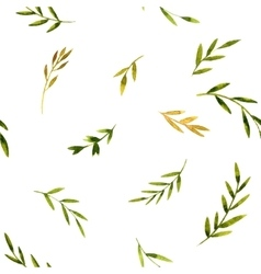 Seamless pattern with watercolor green leaves vector