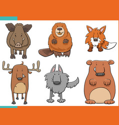 Set cartoon wild animals funny characters vector
