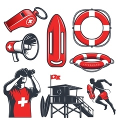 Set of vintage lifeguard elements vector