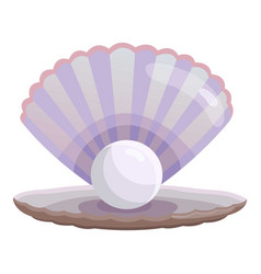 Shell with pearl icon cartoon style vector