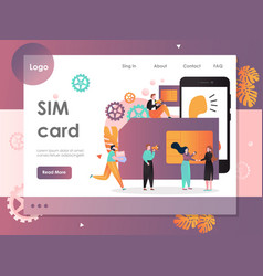 sim card website landing page design vector image