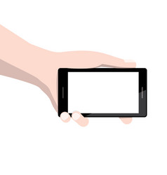 smart phone with empty display screen in human vector image