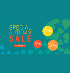 special autumn sale banner horizontal flat style vector image