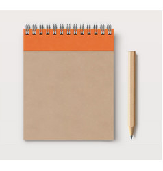 Spiral brown craft paper cover notebook vector