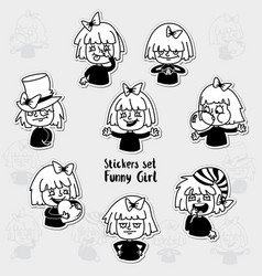 sticker set character emotions a expression set vector image