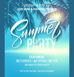 summer party poster palm leaf and sea background vector image