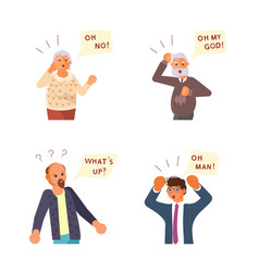 surprised people with questions speech bubbles vector image