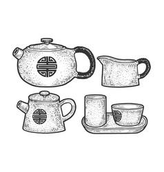 tea ceremony asian culture sketch engraving vector image