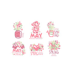 tender spring labels and logos with original vector image