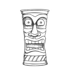 Tiki idol carved wood crazy laugh totem ink vector