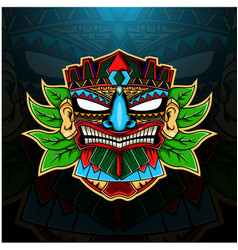 Tiki mask esport mascot logo with leaves vector