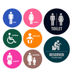 Toilet signs restroom signboards a set of toilet vector