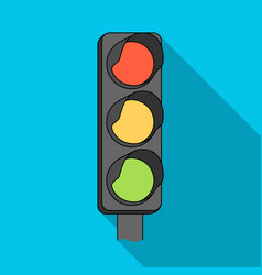 Traffic light for vehiclescar single icon in flat vector