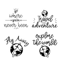 Travel adventure set calligraphy messsages font vector