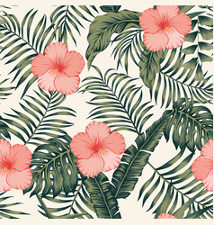 tropical leaves and hibiscus abstract colors vector image