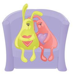 Two toy rabbits with hearts on an armchair vector