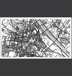 Vienna austria map in black and white color vector