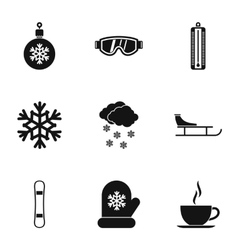 Weather winter icons set simple style vector