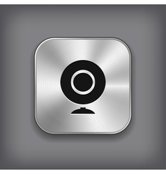 Webcamera icon - metal app button vector image
