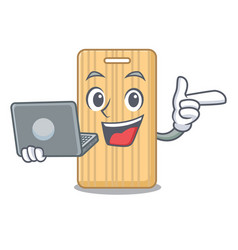 With laptop wooden cutting board character cartoon vector