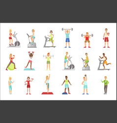 women training in gym set vector image