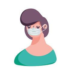 young man character cartoon medical mask covid 19 vector image