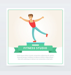 young man doing exercises on a platform fitness vector image