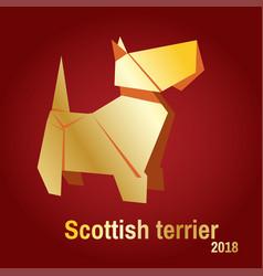 a golden origami dog terrier vector image