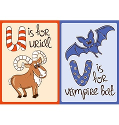 Children Alphabet with Funny Animals Urial and vector image