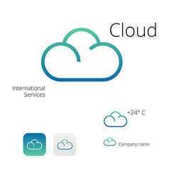 Cloud stylish logo and icons vector image vector image