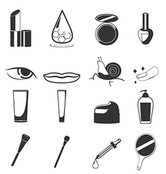 Cosmetic Beauty Black Icon Set vector image vector image