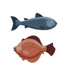 cute fish cartoon funny swimming graphic animal vector image