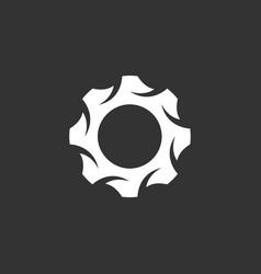 Gear logo icon on black background vector