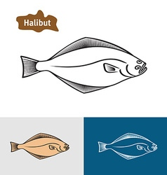 Halibut fish sumple one color silhouette vector image vector image
