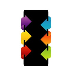 Text box with colorful arrows vector image