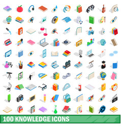 100 knowledge icons set isometric 3d style vector image vector image
