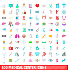 100 medical center icons set cartoon style vector image