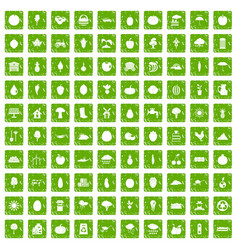 100 productiveness icons set grunge green vector